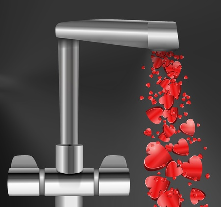 spout: Illustration depicting a chrome water tap with metallic red love hearts flowing from the spout against a dark  background.