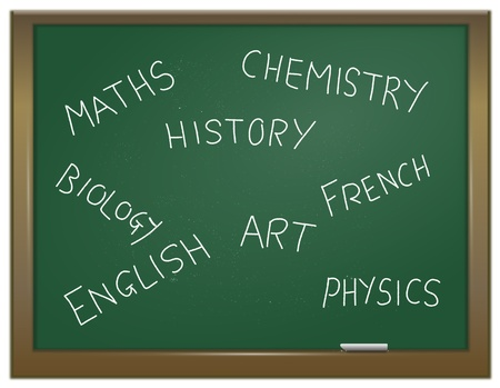 Illustration depicting a green chalk board with a variety of school subjects written on it in white chalk. illustration