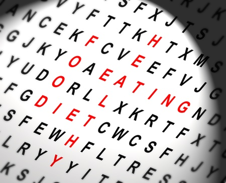 Illustration depicting a  wordsearch with spotlight effect in the centre revealing diet concept words in red. Stock Illustration - 12207996
