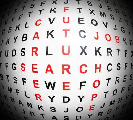 Illustration depicting an abstract wordsearch with centre focus revealing job concept words in red. Stock Illustration - 12208006