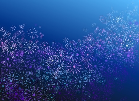 Abstract illustration depicting many pale pastel colour flowers against blue background. illustration