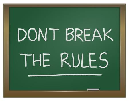 regel: Illustratie geeft een groene krijtbord met de woorden