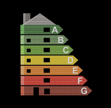 energy efficiency: Illustrated energy efficiency chart giving the appearance of being incorporated into a building with black background. Stock Photo