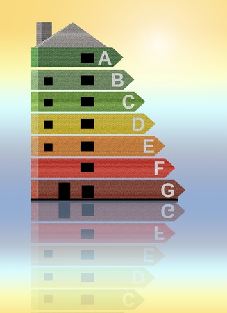 classification: Illustrated energy efficiency chart giving the appearance of being incorporated into a building with warm to cold background tones. Stock Photo