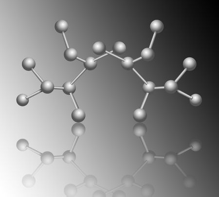 Illustration depicting molecular structure concept with reflections and grey gradient background. illustration