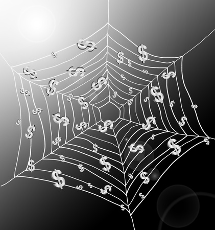 spiderweb: Illustration depicting a spiderweb with Dollar signs trapped by the threads. Dark with strong sunlight background. Stock Photo