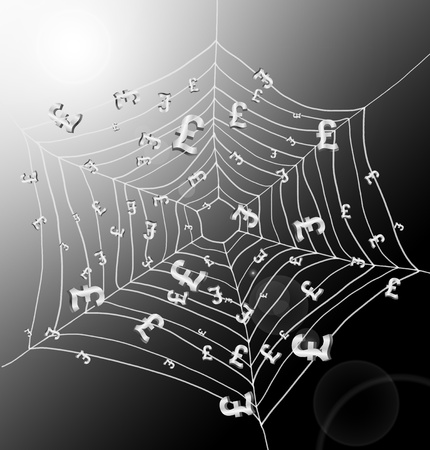 Illustration depicting a spiderweb with Pound signs trapped by the threads. Dark with strong sunlight background. Stock Illustration - 12208166