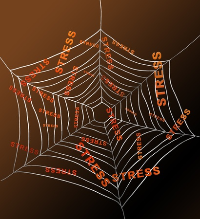 depicting: Illustration depicting a spiderweb with the words