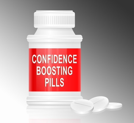 self confidence: Illustration depicting a single white and red medication container with the words