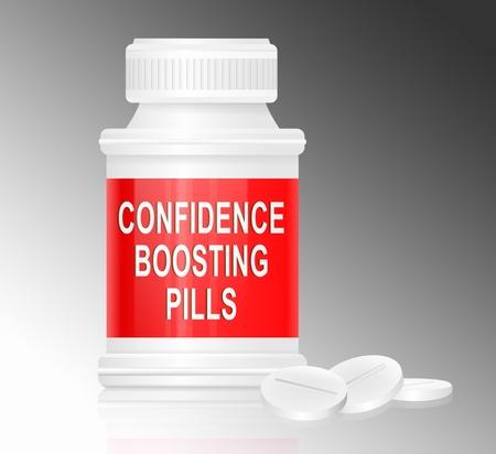 confianza: Ilustraci�n que representa a un recipiente del medicamento solo blanco y rojo con las palabras