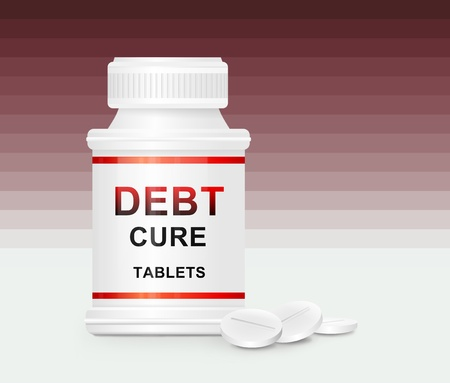 recession: Illustration depicting a single white medication container with the words