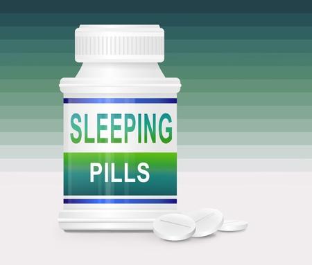 sleeplessness: Illustrazione raffigurante un unico contenitore farmaco con le parole