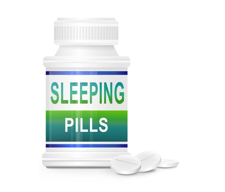 sleeping tablets: Illustration depicting a single medication container with the words  Stock Photo