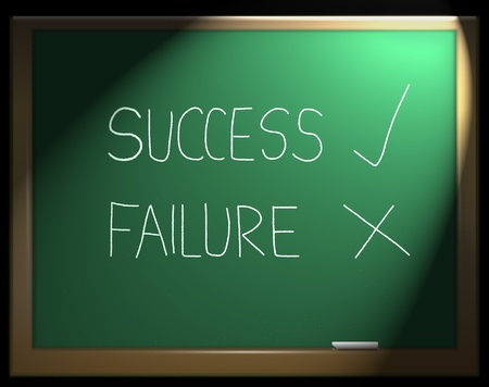 Illustration depicting a green chalkboard with the words success failure written in white chalk. illustration