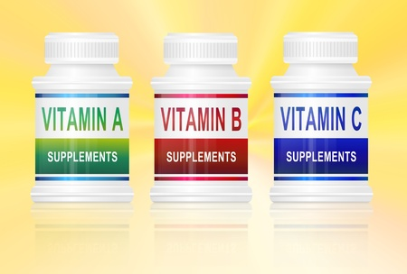 Illustration depicting three medication containers with vitamin labels. Golden yellow light effect background. illustration