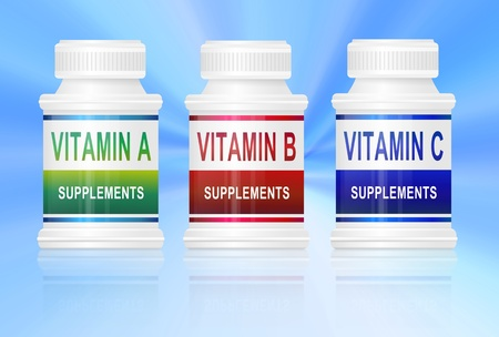 supplements: Illustration depicting three medication containers with vitamin labels. Blue light effect background.