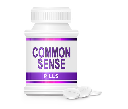 common sense: Illustration depicting a single medication container with the words  Stock Photo