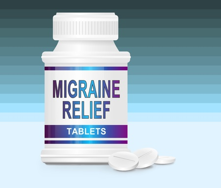 headaches: Illustration depicting a single medication container with the words  Stock Photo