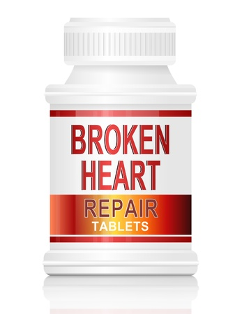heart broken: Illustration depicting a single medication container with the words broken heart repair tablets on the front with white background.