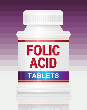 pharmacology: Illustration depicting a single medication container with the words folic acid tablets on the front with purple gradient  background. Stock Photo