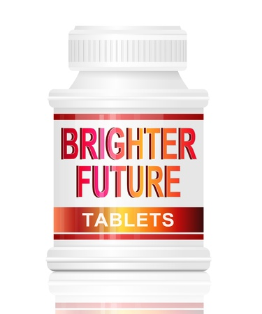 brighter: Illustration depicting a single medication container with the words brighter future tablets on the front with white background, Stock Photo
