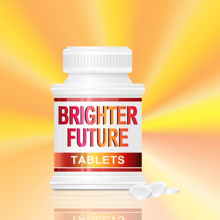 Illustration depicting a single medication container with the words 'brighter future tablets' on the front with golden light effect background and a few tablets in the foreground. Stock Illustration - 12739944