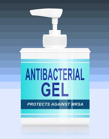 Antibacterial: Illustration depicting a single antibacterial gel dispenser arranged over blue stripe gradient background.