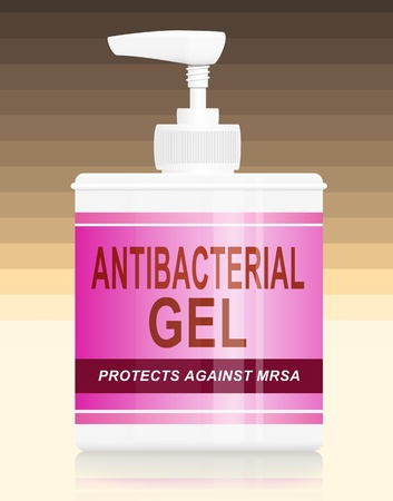Antibacterial: Illustration depicting a single antibacterial gel dispenser arranged over warm pastel  colour stripe gradient background.