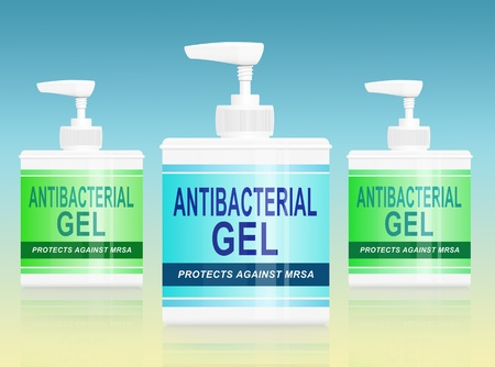 Antibacterial: Illustration depicting three antibacterial gel dispensers arranged over yellow and blue background.
