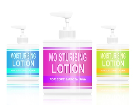 complexion: Illustration depicting three  moisturising lotion dispensers  arranged over white background. Stock Photo