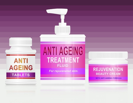 Illustration depicting an assortment of anti ageing products arranged over pink stripe gradient background. Stock Illustration - 12739894