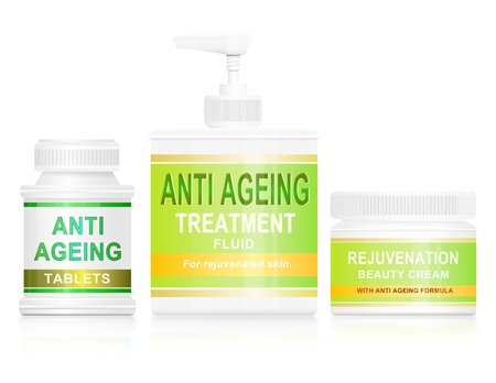 ageing: Illustration depicting an assortment of anti ageing products arranged over white.