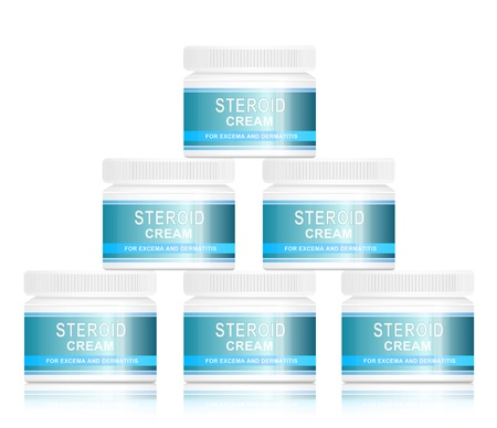 allergic reaction: Illustration depicting steroid cream treatment products  arranged in a pyramid formation over white  Stock Photo