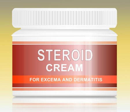 Illustration depicting a steroid cream treatment product arranged over pale yellow gradient blur  illustration
