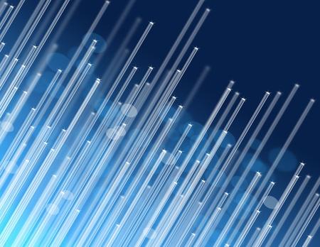 fibra óptica: Ilustración que representa a los extremos de los muchos hilos de fibra óptica iluminados sobre fondo azul resumen