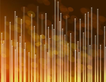Illustration depicting the ends of many illuminated golden fiber optic strands against abstract golden background Stock Illustration - 12739759