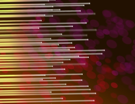 Illustration depicting the ends of many illuminated yellow fiber optic strands against abstract dark warm red background  illustration