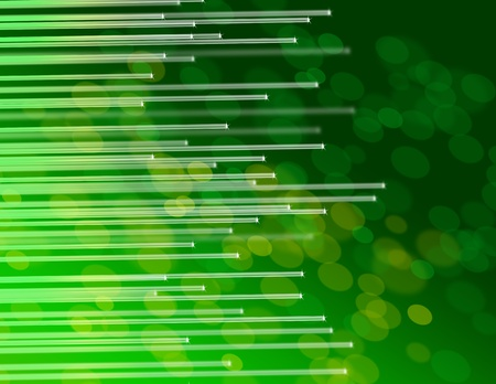 Illustration depicting the ends of many illuminated fiber optic strands against abstract green background  illustration