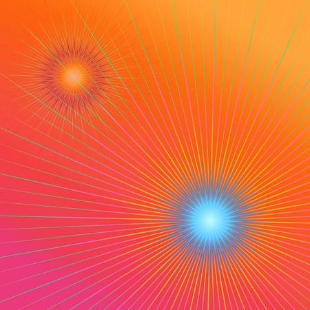 vividly: Abstract illustration depicting geometric vividly colorful lines against a pink and orange  background