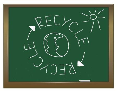 Illustration depicting a green chalkboard with a recycling concept written on it in white  illustration