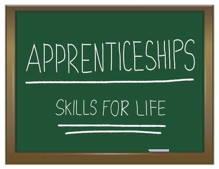 intern: Illustration depicting a green chalkboard with  APPRENTICESHIP SKILLS FOR LIFE written on it in white. Stock Photo