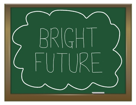 Illustration depicting a green chalkboard with  BRIGHT FUTURE written on it in white. illustration