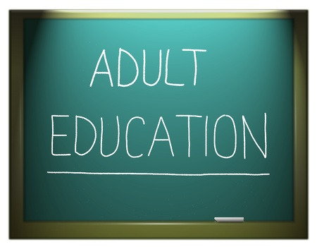 adults learning: Illustration depicting a blue chalkboard with ADULT EDUCATION written on it in white.