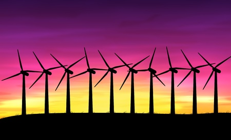 Illustration depicting a row of silhouetted wind turbines against a warm sunset  illustration