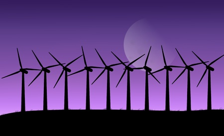 windpower: Illustration depicting a row of silhouetted wind turbines against a twilight sky with moon