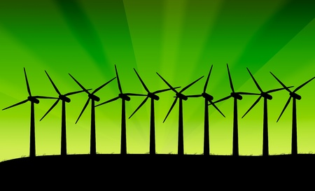 windpower: Illustration depicting a row of silhouetted wind turbines against a vivid green abstract background