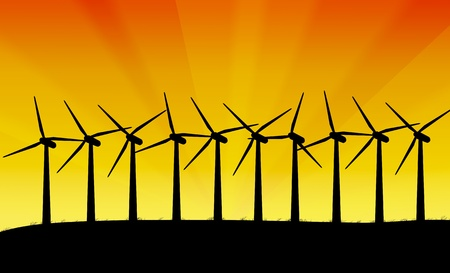 windpower: Illustration depicting a row of silhouetted wind turbines against a vivid yellow and orange abstract background