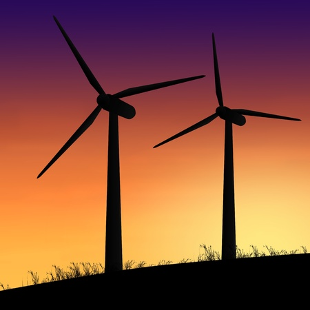 Illustration depicting two silhouetted wind turbines against a warm sunset  illustration