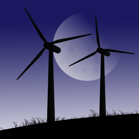 windfarm: Illustration depicting two silhouetted wind turbines against twilight sky and large moon