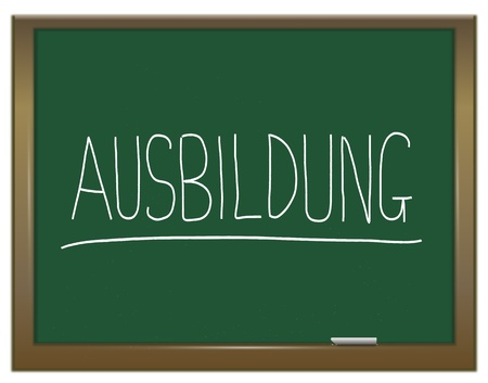 Illustration depicting a green chalkboard with  AUSBILDUNG written on it in white  illustration